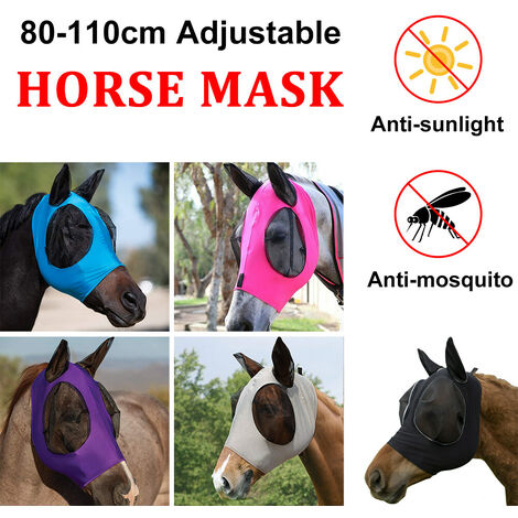 Masque anti-mouches pour chevaux doux maille intégrale avec protection des oreilles des yeux contre les piq?res d'insectes / UV (bleu, pour poney)