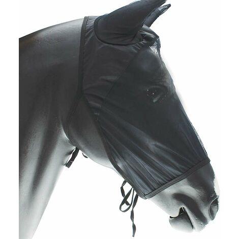 Masque anti-moustique en nylon léger pour cheval avec protège-oreilles et lacets AmaHorse