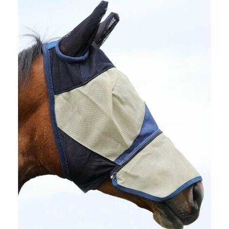 Masque anti-moustiques pour chevaux en PVC avec couvre-oreilles et fermeture à glissière en tissu déchirable AmaHorse