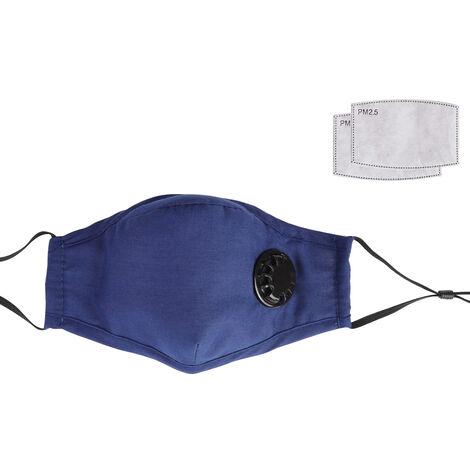 Masque Anti-Poussiere Avec 2 Respirateurs Et Filtre Resuable Souple Et Respirant Masques De Securite Coton Avec La Respiration Valve, Bleu