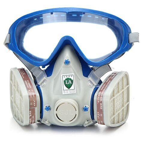 Masque anti-poussière pour respirateur facial Lunettes chimiques avec doubles filtres pour cyclisme en plein air