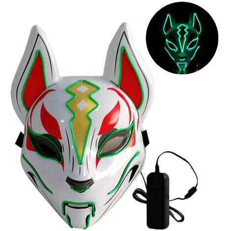 Masque complet renard 10 couleurs neon abat-jour Led, (livre sans batterie) feu vert