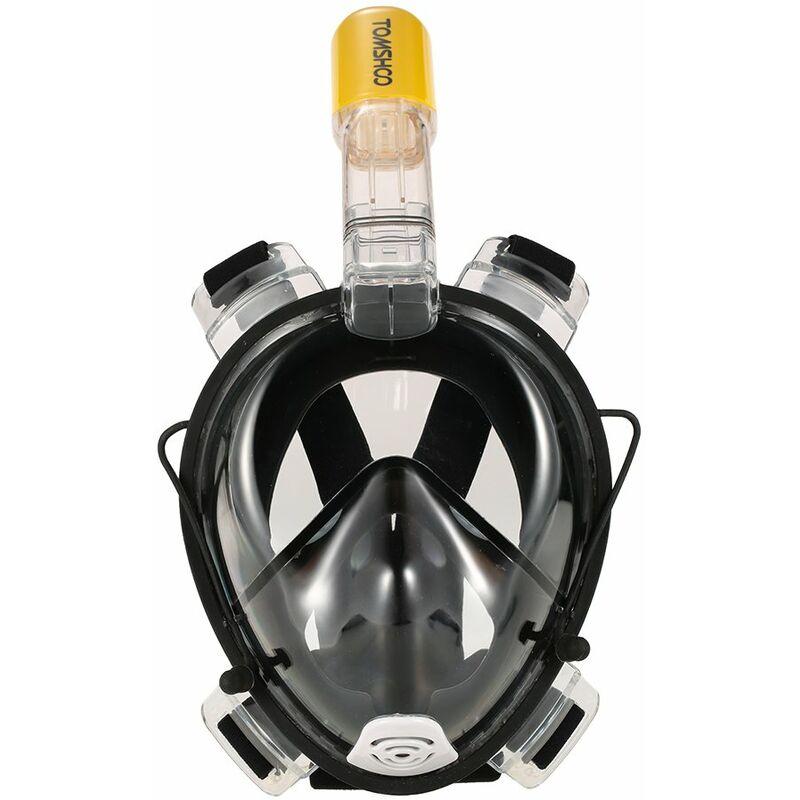 Masque De Plongee Adulte En Silicone Sec Complet, Lunettes De Natation + Ensemble Tuba, Noir, Taille L/Xl