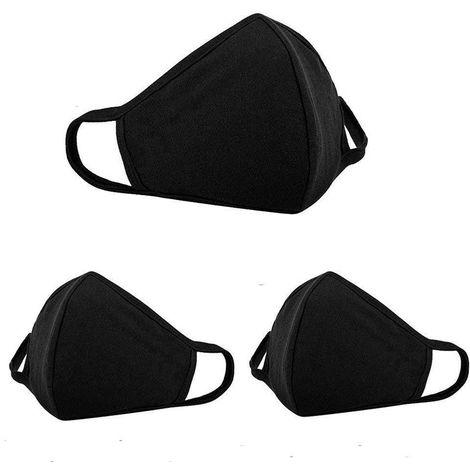 Masque de protection anti-poussière pour le visage, masque respiratoire, anti-poussière anti-bactérien lavable, masque coupe-vent chaud pour homme et femme, noir, paquet de 3