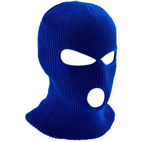 Masque De Ski Integral Chaud Tricote 3 Trous, Bleu