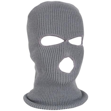 Masque De Ski Integral Chaud Tricote 3 Trous, Gris Clair