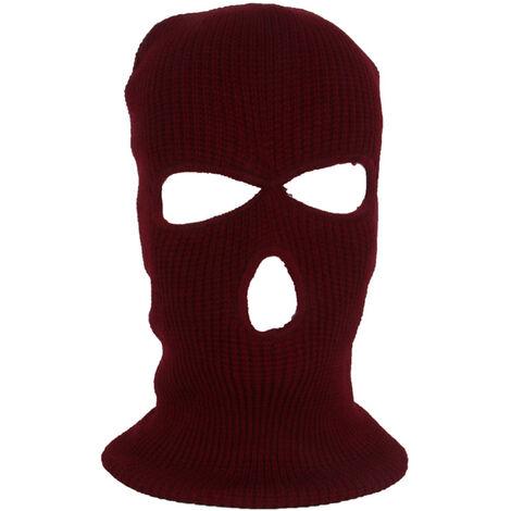 Masque De Ski Integral Chaud Tricote 3 Trous, Vin Rouge