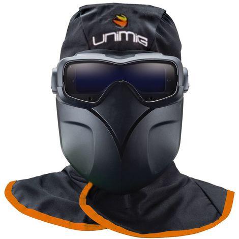 Masque de soudeur UNIMIG Lunettes LCD 3 Capteurs Protection 5/13 + Hotte ignifugée + masque détachable