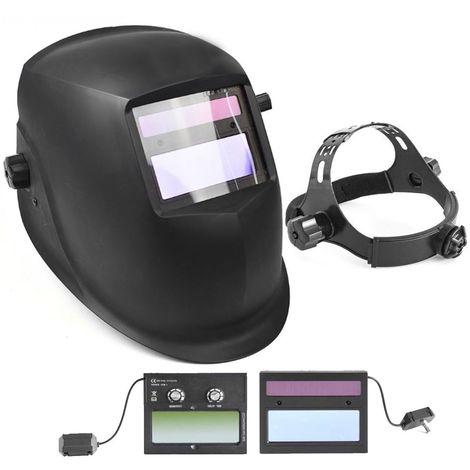 Masque de soudure LCD automatique 2 capteurs Solaire et Batterie intégrée Teinte réglable 9 à 13 LCD