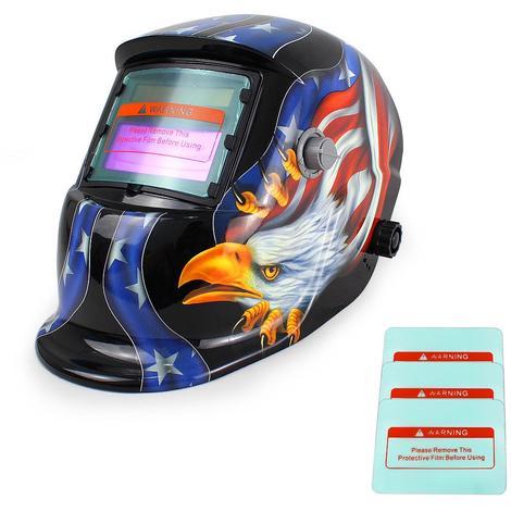 Masque de Soudure Réglable, Masque avec Assombrissement Automatique, Motif aigle, Avec 3 lentilles supplémentaires, Matériau: Plastique (PP, PE), PCB