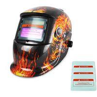 Masque de Soudure Réglable, Masque avec Assombrissement Automatique, Motif feu, Avec 3 lentilles supplémentaires, Matériau: Plastique (PP, PE), PCB