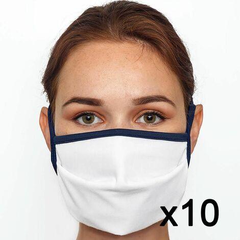 Masque en tissu lavable 60 fois certifié UNS1 Fabriqué en France x10