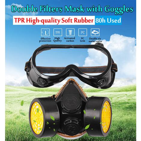 Masque Facial Lunettes Double Filtre Anti-Poussière Chimique Lunettes Masque Anti-Brume