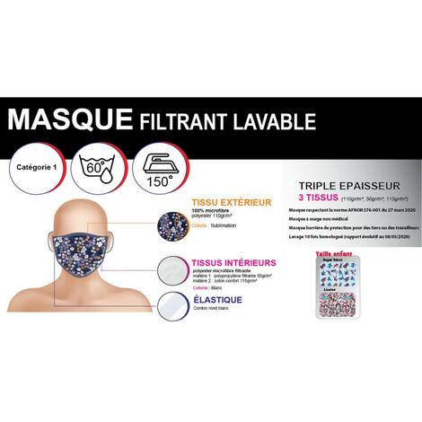 Masque filtrant en tissus modèle Licornes multicolores pour enfant jusqu'à 7ans - 50 lavages - origine Europe