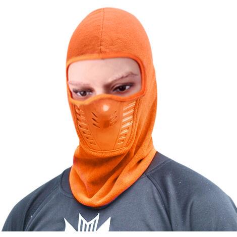 Masque Hiver Chaud Moto Coupe-Vent Visage Chapeau Cou Casque Bonnets Pour Homme Femme Sport Chapeaux, Orange