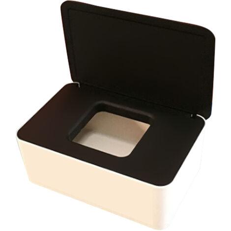 Masque Jetable Boite De Rangement Anti-Poussiere Masque Flip Cover Box Humide Cas De Tissu Avec Couvercle, Blanc Noir