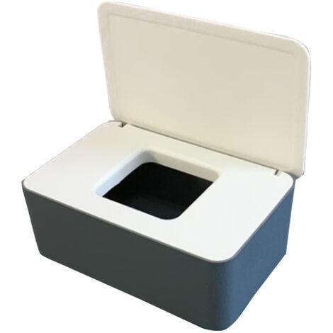 Masque Jetable Boite De Rangement Anti-Poussiere Masque Flip Cover Box Humide Cas De Tissu Avec Couvercle, Gris Blanc