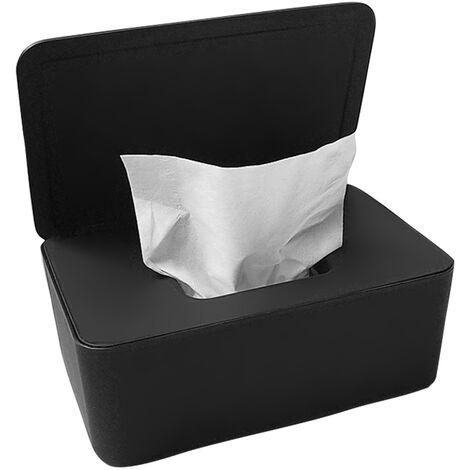 Masque Jetable Boite De Rangement Anti-Poussiere Masque Flip Cover Box Humide Cas De Tissu Avec Couvercle, Noir