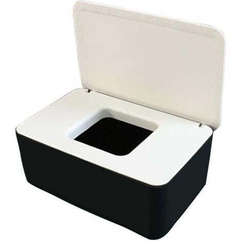 Masque Jetable Boite De Rangement Anti-Poussiere Masque Flip Cover Box Humide Cas De Tissu Avec Couvercle, Noir Blanc