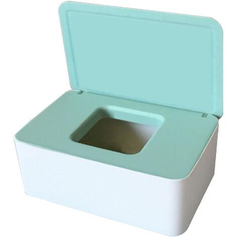 Masque Jetable Boite De Rangement Anti-Poussiere Masque Flip Cover Box Humide Cas De Tissu Avec Couvercle Portable, Blanc Vert