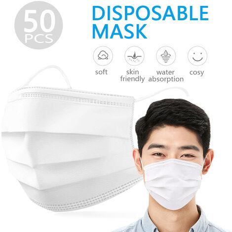 Masque Jetable Visage 50Pcs Earloop Bouche Masque Facial Masques 3-Couche De Protection Respirateurs Non-Tisse Contre Droplet Poussiere Les Particules De La Pollution