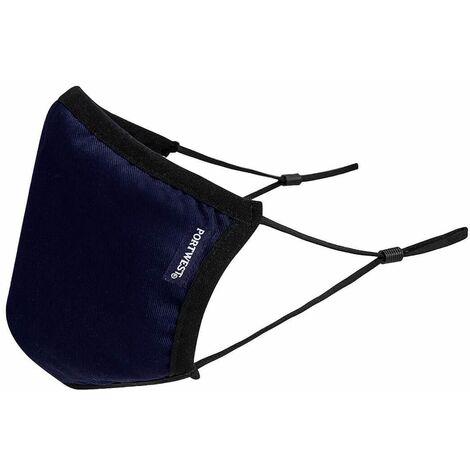 Masque réutilisable tissu antimicrobien 3 couches Portwest (Boite de 25) Bleu Marine Unique