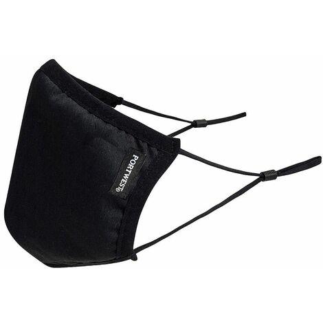 Masque réutilisable tissu antimicrobien 3 couches Portwest (Boite de 25) Noir Unique