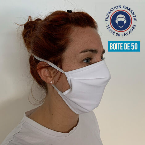 Masque tissu NEWIND - Fabrication française - Coloris blanc - UNS1 AFNOR DGA