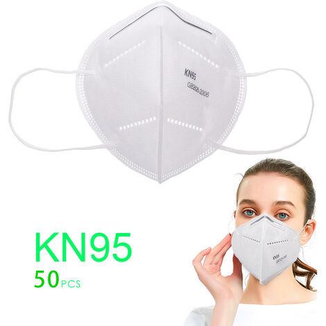 Masque Visage Adulte Kn95 Antipoussiere 4 Couches Masque Tissus Non-Tisses 50Pcs