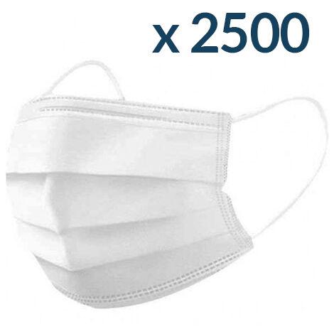 Masques Chirurgicaux Blancs - 50 boites de 50 masques - Jetable à usage unique - Norme CE Type II - Blanc