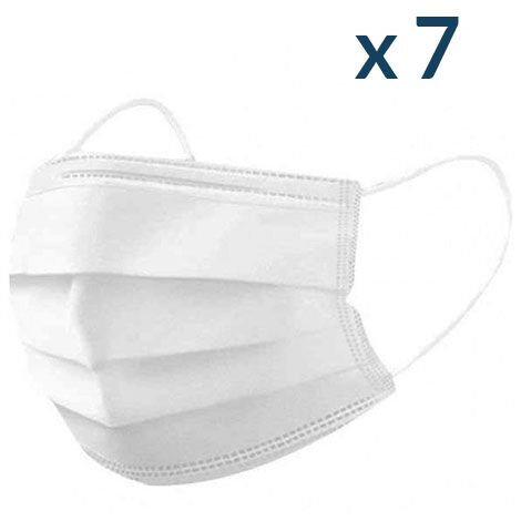 Masques Chirurgicaux Blancs - Sachet de 7 masques jetables - Taille L - Norme CE Type II - Blanc