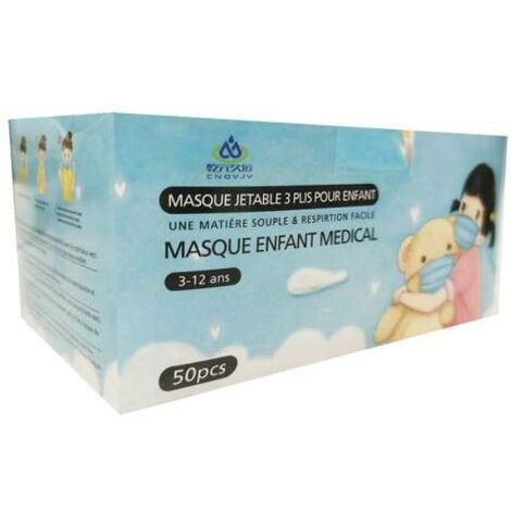 Masques Chirurgicaux Enfant CE 3 Plis Jetables 3-12 Ans Type IIR - Pack de 50 - Couleur Bleu - Bleu, Rose - SILAMP