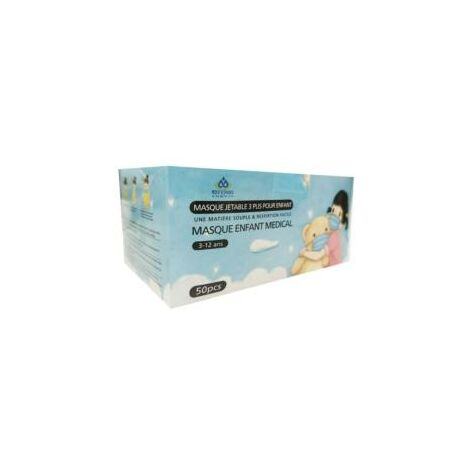 Masques Chirurgicaux Roses pour Fille CE 3 Plis Jetables - Type IIR - Pack de 50 - 3-12 Ans - Bleu, Rose - SILAMP