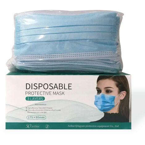 Masques jetables 3 plis - Boite de 50 masques non medicaux