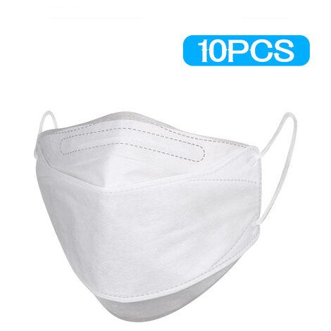 Masques jetables Masques en tissu non tisse Meltblown Anti-poussiere et anti-brume Masque de bouche de poisson unisexe 10pcs blanc 4 couches non medical