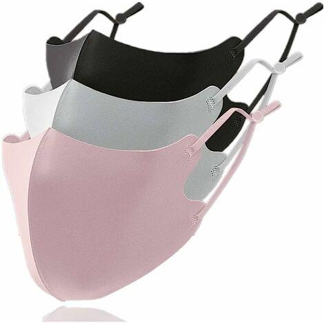 Masques Tissu Lavable Froid -3℃ RéUtilisables 3 Pcs Conception 3d Unusage Quotidien Public Adulte