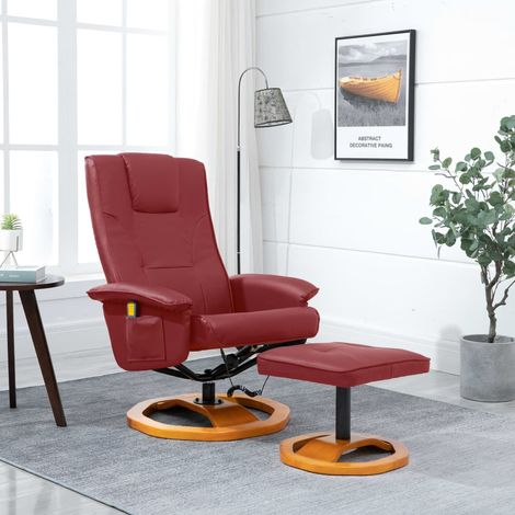 Massage Chair with Foot Stool Wine Red Faux Leather