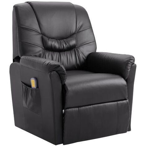 Massage Recliner Chair Grey Faux Leather