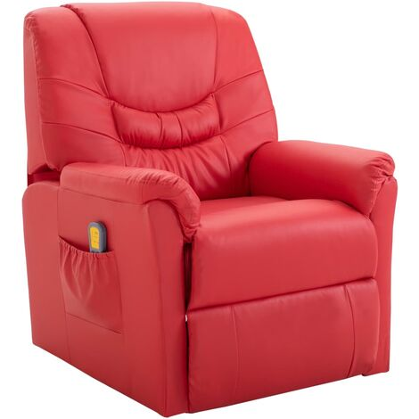 Massage Recliner Chair Red Faux Leather