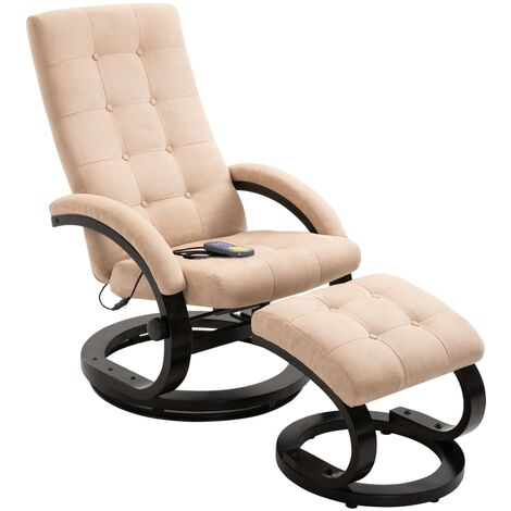 Massage Recliner with Footrest Cream Suede-touch Fabric