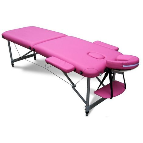 Massage Table Beauty Couch Bed Folded 2 Section Aluminium Frame Pink