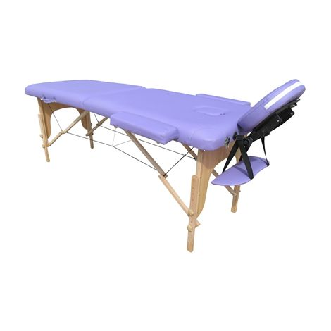 Massage Table Beauty Couch Bed Folded 2 Section Wooden Frame Purple