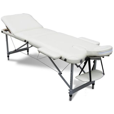 Massage Table Beauty Couch Bed Folded 3 Section Aluminium Frame Beige
