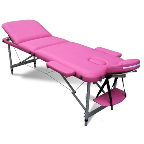 Massage Table Beauty Couch Bed Folded 3 Section Aluminium Frame Pink