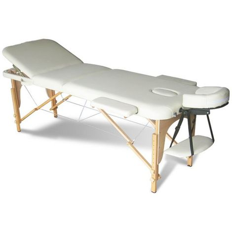 Massage Table Beauty Couch Bed Folded 3 Section Wooden Frame Beige