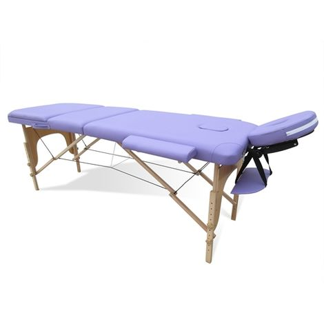 Massage Table Beauty Couch Bed Folded 3 Section Wooden Frame Purple