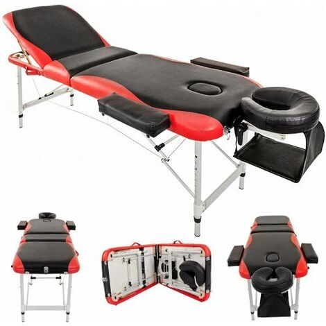 Massage Table Couch Bed Aluminium Deluxe Lightweight Professional Beauty Tattoo Spa 3 Section with Premium PU Leather and 5 cm High Density Multi-Layer Foam Headrest Arm support and Carrying Bag Red