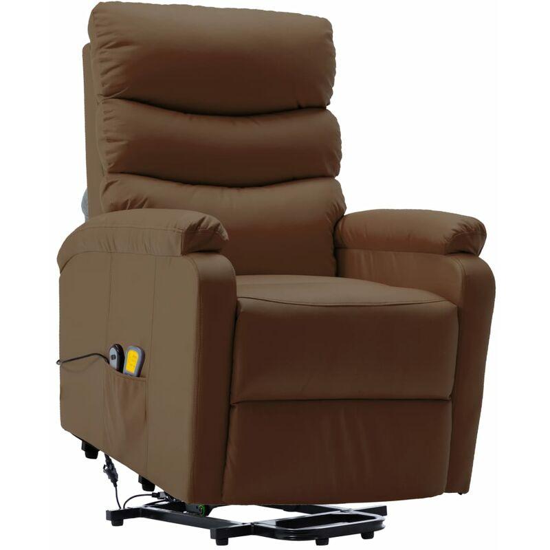 Massagesessel mit Aufstehhilfe Braun Kunstleder - VIDAXL