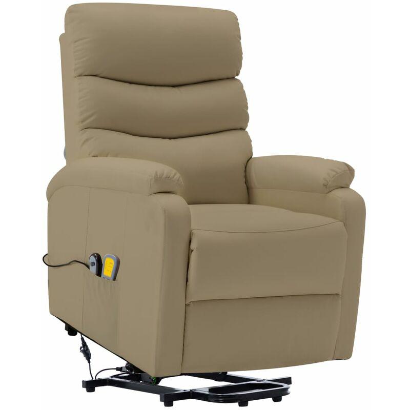 Massagesessel mit Aufstehhilfe Cappuccino-Braun Kunstleder - VIDAXL