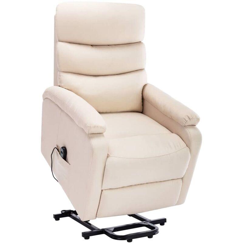 Massagesessel mit Aufstehhilfe Creme Stoff - VIDAXL
